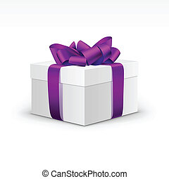 White Gift Box with Purple Violet Ribbon Isolated - Vector ...