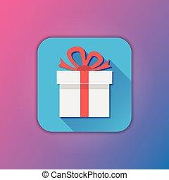 Vector White Gift Icon