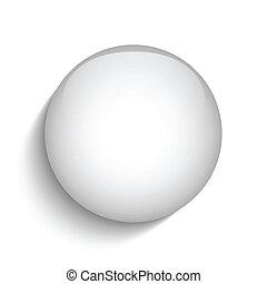 White Glass Circle Button Icon - Vector - White Glass Circle...
