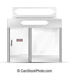 VECTOR: White gray POS POI Outdoor/Indoor 3D shop or Kiosk on Isolated white background. Mock-up template ready for design