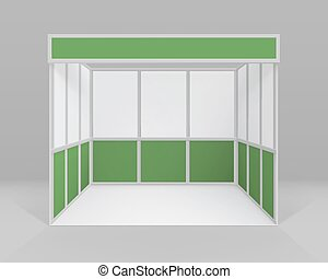 Vector White Green Blank Indoor Trade exhibition Booth...