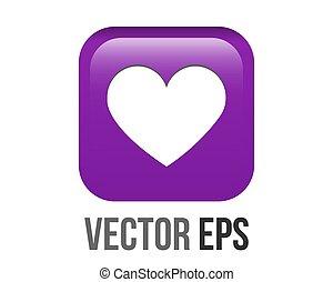 Vector white heart icon gradient purple round corner button