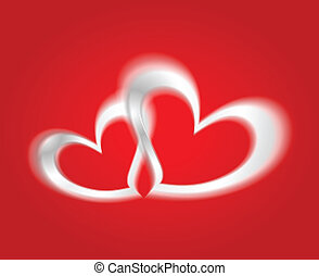 Vector white hearts on the red backdrop