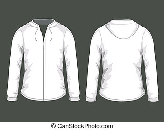 Vector white hoodie templates - Vector illustration of white...