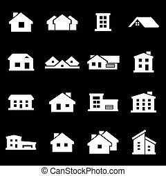 Vector white house icons set