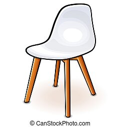 Vector white hull chair cartoon  - Vector illustration of ...