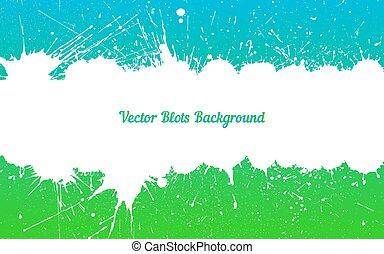 Vector white ink splashes over blue green