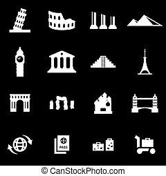 Vector white landmarks icon set