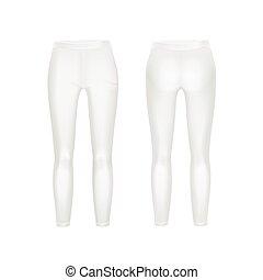 Vector White Leggings Pants Isolated on White Background