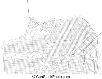 Vector White map of San Francisco
