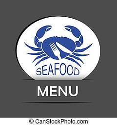 Vector white menu label with crab silhouette and symbol of...