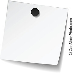 vector white note paper with magnet