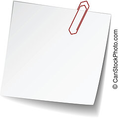 vector white note paper with paperclip