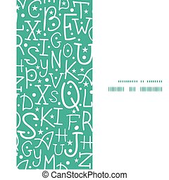Vector white on green alphabet letters vertical frame seamless pattern background