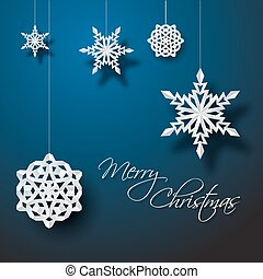 Vector white paper christmas snowflakes on a blue background