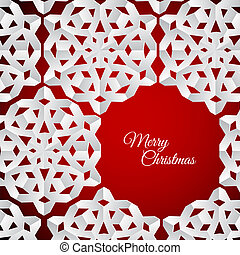 Vector white paper christmas snowflakes on a red background