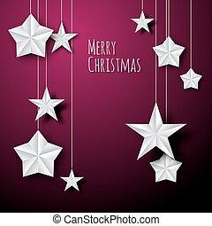 Vector white paper christmas stars