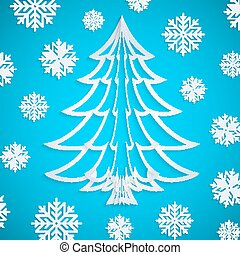 Vector white paper Christmas tree on the blue background with snowflakes