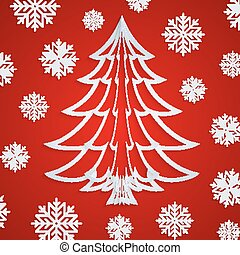 Vector white paper Christmas tree on the red background with snowflakes