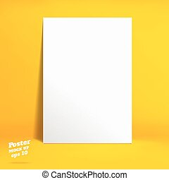 Vector : White paper poster in vivid yellow studio room, Template mock up for display of product or your content ,Business backdrop