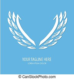 Vector white paper wings on a blue matte background. Beautiful applique. Abstract design. Vector illustration.