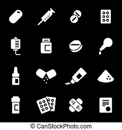 Vector white pills icons set