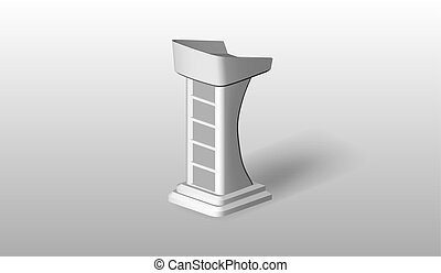 Vector White Podium Tribune Rostrum on Isolated background