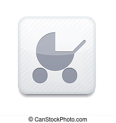 Vector white pram icon. Eps10. Easy to edit