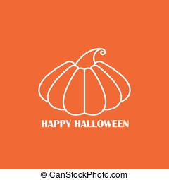 Vector white pumpkin on orange background poster, icon or...