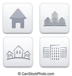 Vector white real estate app icon set. Eps10