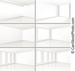 Vector White Room Interiors Set with Empty Wall Background