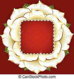 Vector white Rose circle frame