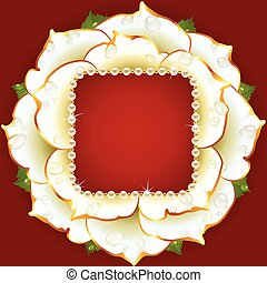Vector white Rose circle frame