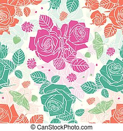 Vector white roses and berries seamless pattern. Colorful solid elements with slightly transparent layer background. Perfect for fabric, scrapbooking and wallpaper projects.