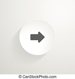 Vector white round button. Arrow icon