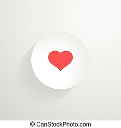 Vector white round button. Heart icon