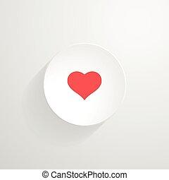 Vector white round button. Heart icon