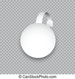 Vector white round paper wobbler isolated on transparent background.