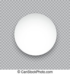 Vector white round sticker isolated on transparent background.