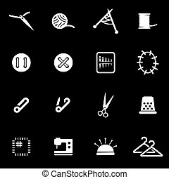 Vector white sewing icon set