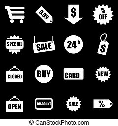 Vector white shopping icon set