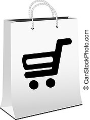 Vector white shopping paper bag with simple black symbol of shopping cart - trolley. Item, button on web page.