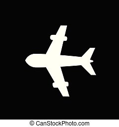 airplane icon isolated on black background.