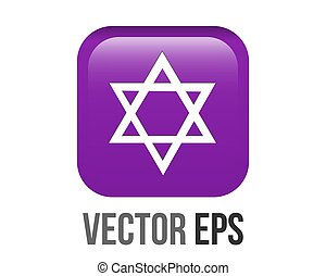 Vector white six pointed star with middle dot icon gradient purple round corner button