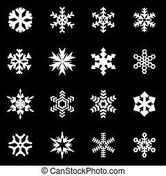 Vector white snowflake icon set