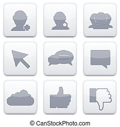 Vector white social Network app icon set. Eps10