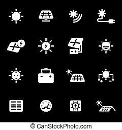 Vector white solar energy icons set