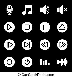 Vector white sound icons set