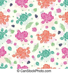 Vector white spaced out roses and berries seamless pattern. Colorful solid elements with slightly transparent layer background. Perfect for fabric, scrapbooking and wallpaper projects.