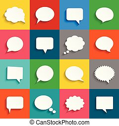 Vector white speech bubbles icon set
